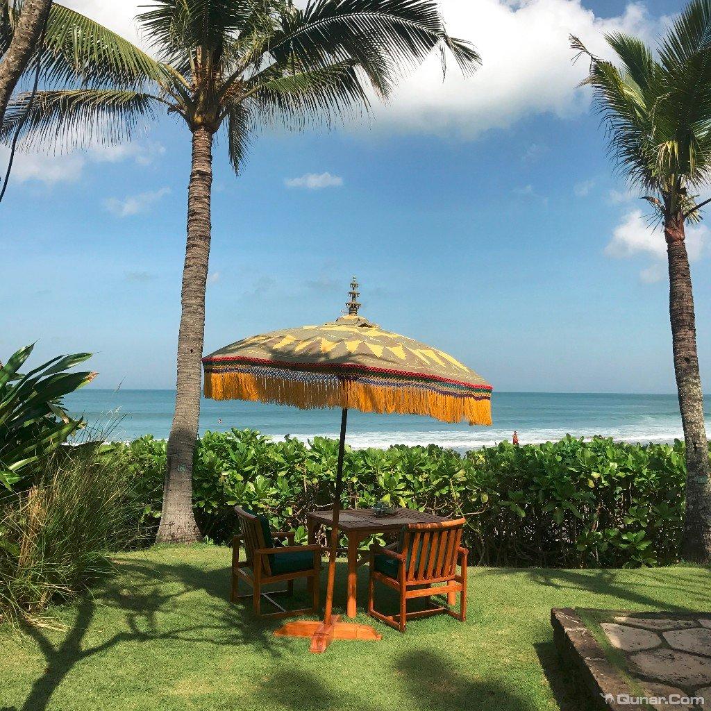 大片的鸡蛋花树,椰子树和木槿树所包围,柚木桌椅,巴厘岛式彩色太阳伞
